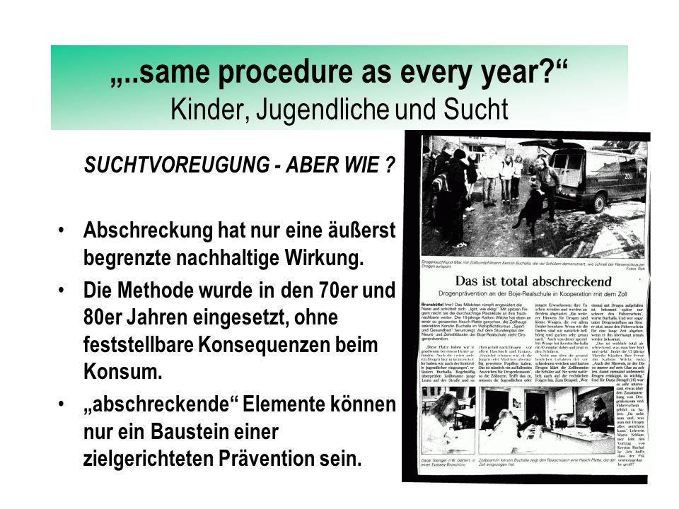 """""""..same procedure as every year?"""" Kinder, Jugendliche und Sucht SUCHTVOREUGUNG - ABER WIE ? Schulische Prävention funktioniert nur im Dreiklang SCHÜLE"""