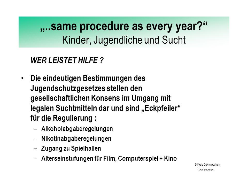 """""""..same procedure as every year?"""" Kinder, Jugendliche und Sucht SUCHTVOREUGUNG - ABER WIE ? Abschreckung hat nur eine äußerst begrenzte nachhaltige Wi"""