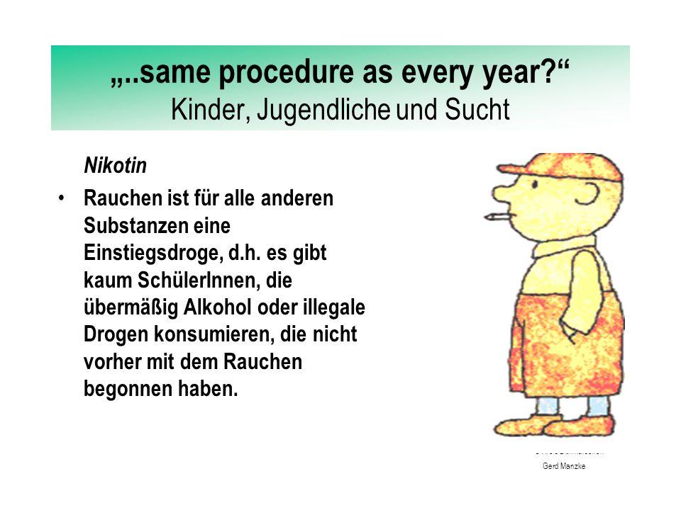 """""""..same procedure as every year Kinder, Jugendliche und Sucht Nikotin Das Einstiegsalter in den regelmäßigen Konsum (nicht nur Neugierverhalten) liegt je nach Quelle zwischen 11.6 und 13.5 Jahren."""