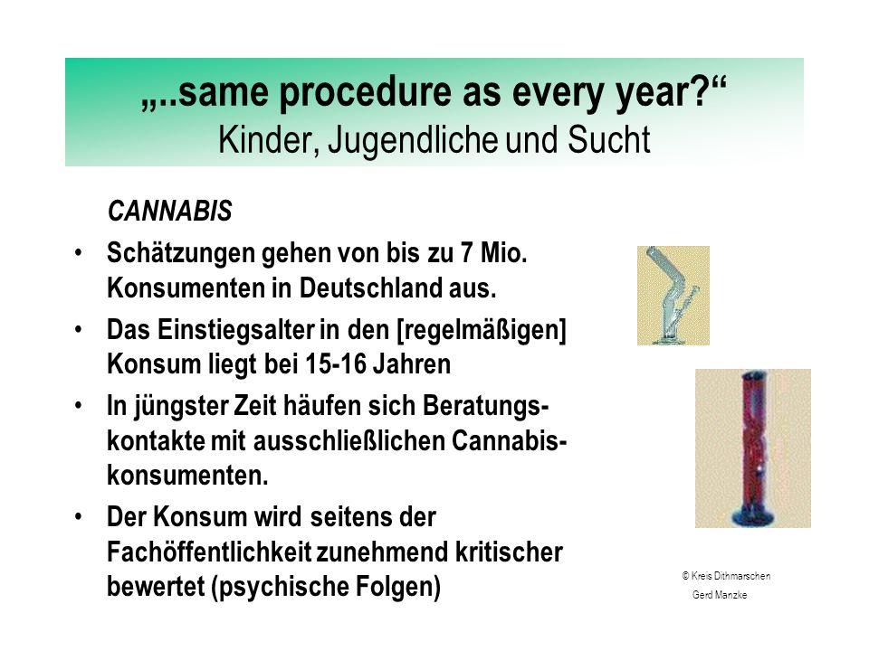 """""""..same procedure as every year? Kinder, Jugendliche und Sucht CANNABIS Schätzungen gehen von bis zu 7 Mio."""