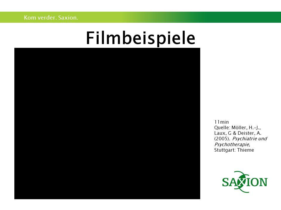 Kom verder. Saxion. Filmbeispiele 11min Quelle: Möller, H.-J., Laux, G & Deister, A. (2005). Psychiatrie und Psychotherapie, Stuttgart: Thieme
