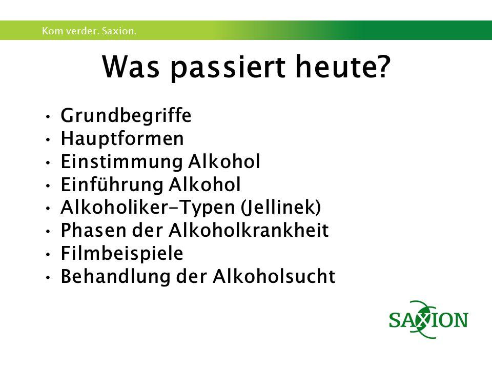 Kom verder. Saxion. Was passiert heute? Grundbegriffe Hauptformen Einstimmung Alkohol Einführung Alkohol Alkoholiker-Typen (Jellinek) Phasen der Alkoh