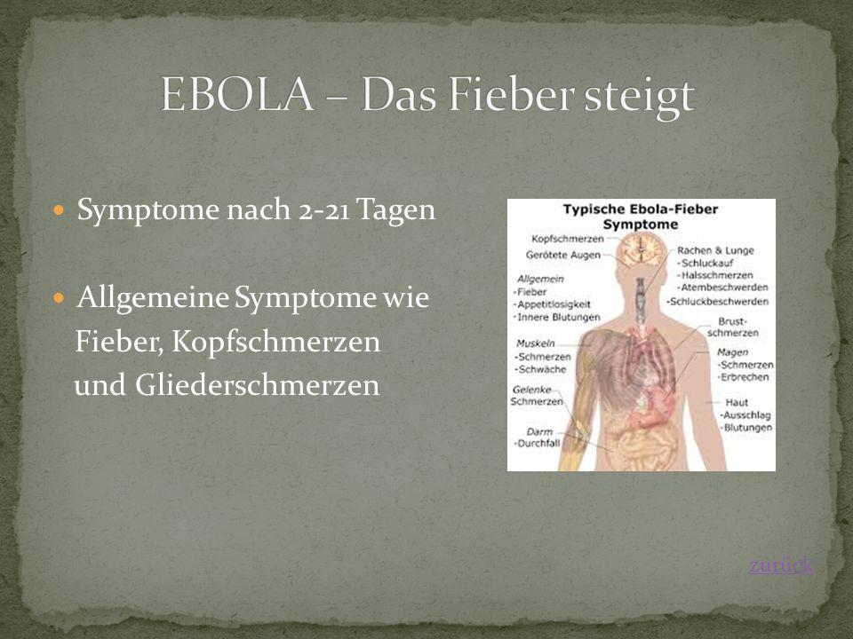 Symptome nach 2-21 Tagen Allgemeine Symptome wie Fieber, Kopfschmerzen und Gliederschmerzen zurück