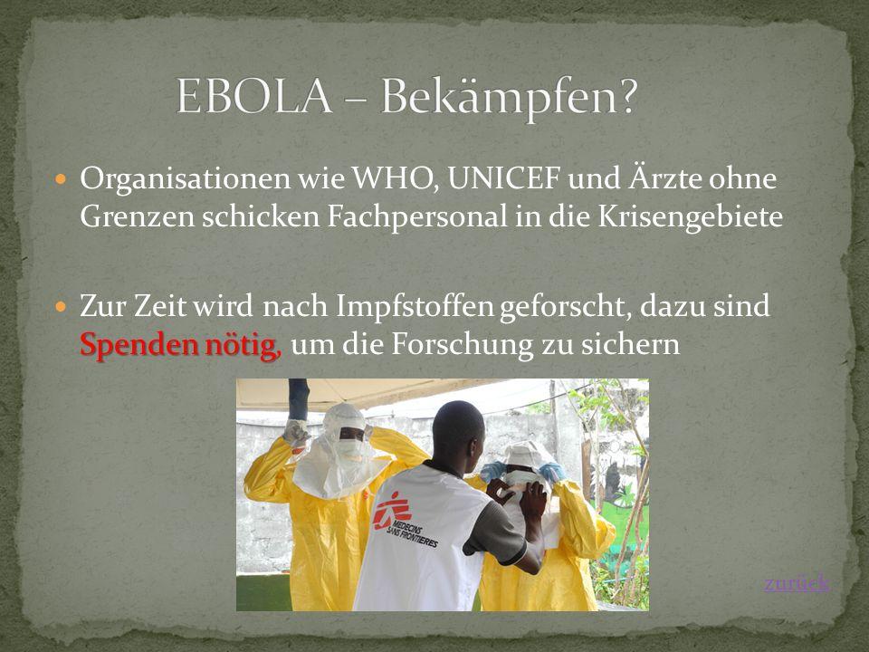 Organisationen wie WHO, UNICEF und Ärzte ohne Grenzen schicken Fachpersonal in die Krisengebiete Spenden nötig Zur Zeit wird nach Impfstoffen geforsch