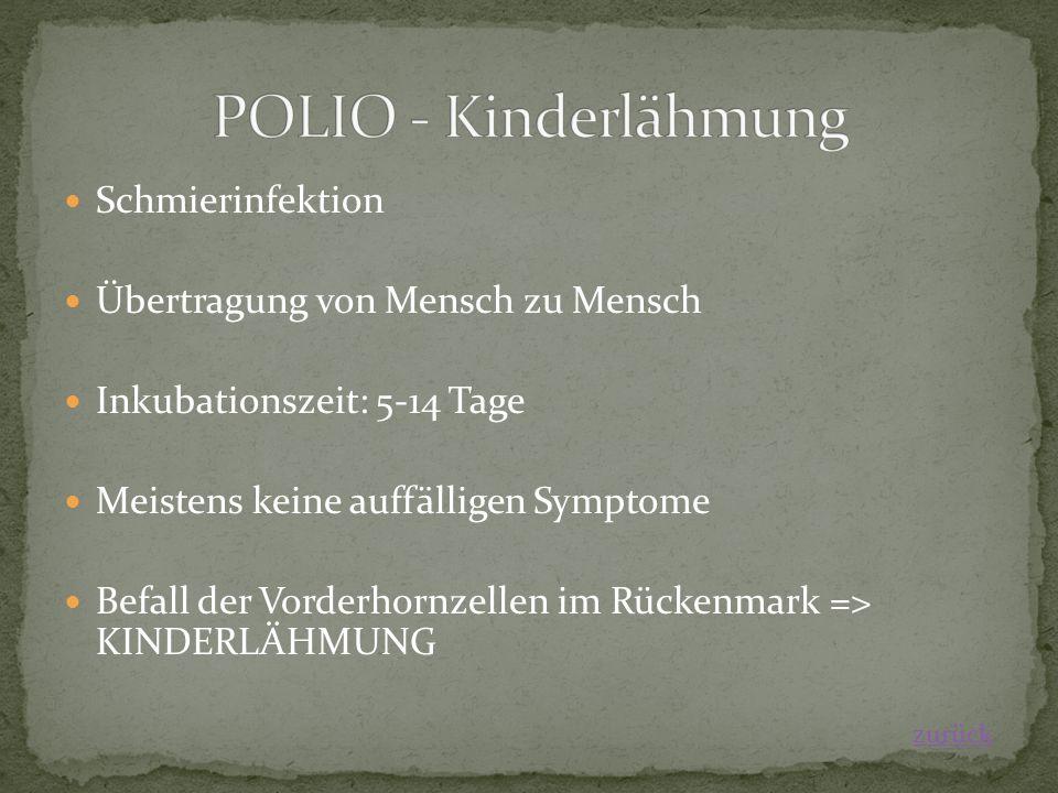Schmierinfektion Übertragung von Mensch zu Mensch Inkubationszeit: 5-14 Tage Meistens keine auffälligen Symptome Befall der Vorderhornzellen im Rückenmark => KINDERLÄHMUNG zurück