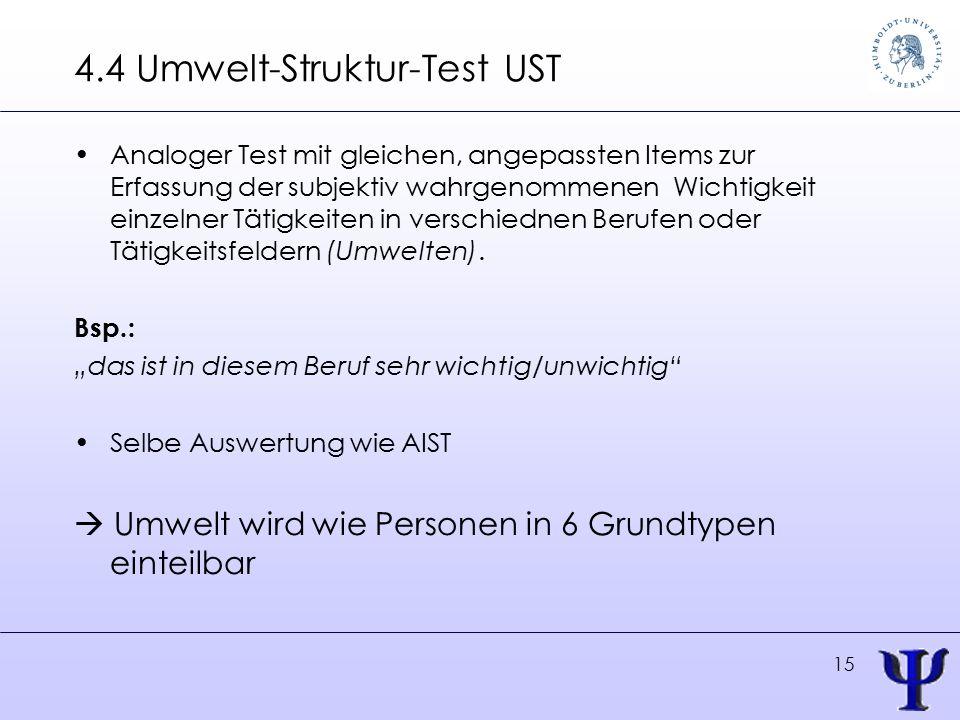 15 4.4 Umwelt-Struktur-Test UST Analoger Test mit gleichen, angepassten Items zur Erfassung der subjektiv wahrgenommenen Wichtigkeit einzelner Tätigkeiten in verschiednen Berufen oder Tätigkeitsfeldern (Umwelten).