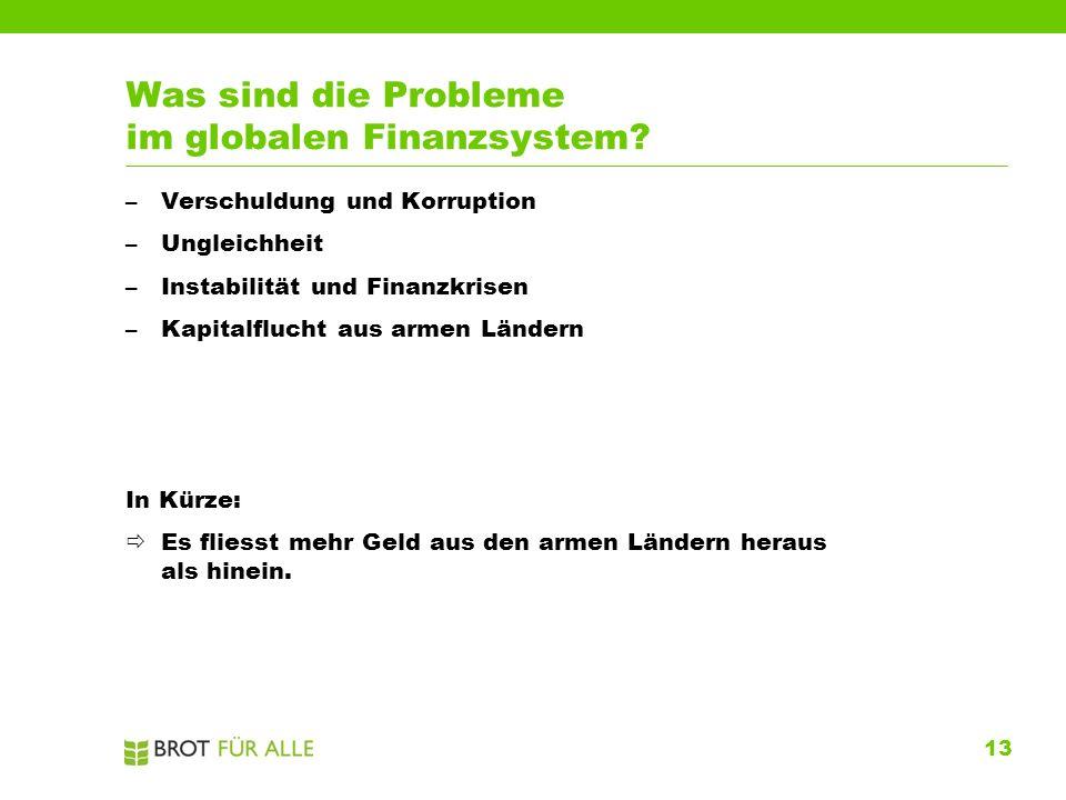 13 Was sind die Probleme im globalen Finanzsystem? –Verschuldung und Korruption –Ungleichheit –Instabilität und Finanzkrisen –Kapitalflucht aus armen