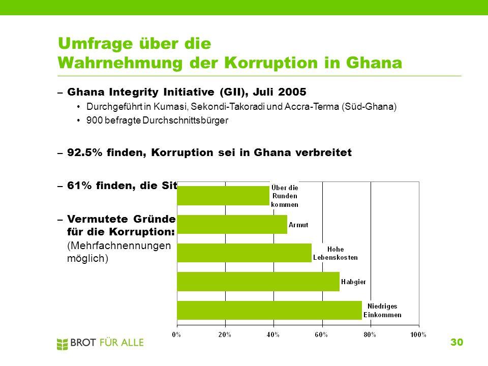 30 Umfrage über die Wahrnehmung der Korruption in Ghana –Ghana Integrity Initiative (GII), Juli 2005 Durchgeführt in Kumasi, Sekondi-Takoradi und Accr