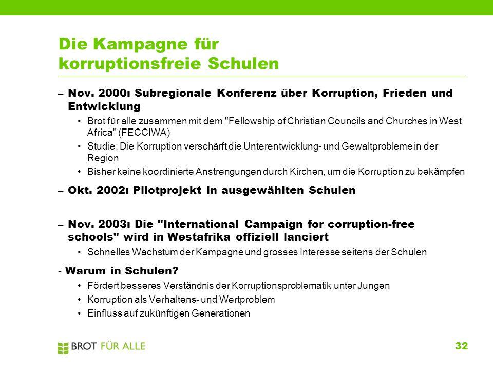 32 Die Kampagne für korruptionsfreie Schulen –Nov. 2000: Subregionale Konferenz über Korruption, Frieden und Entwicklung Brot für alle zusammen mit de