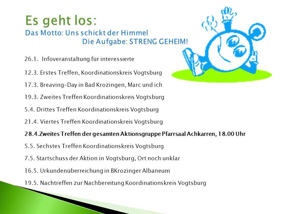 26.1. Infoveranstaltung für interessierte 12.3. Erstes Treffen, Koordinationskreis Vogtsburg 17.3. Breaving-Day in Bad Krozingen, Marc und ich 19.3. Z