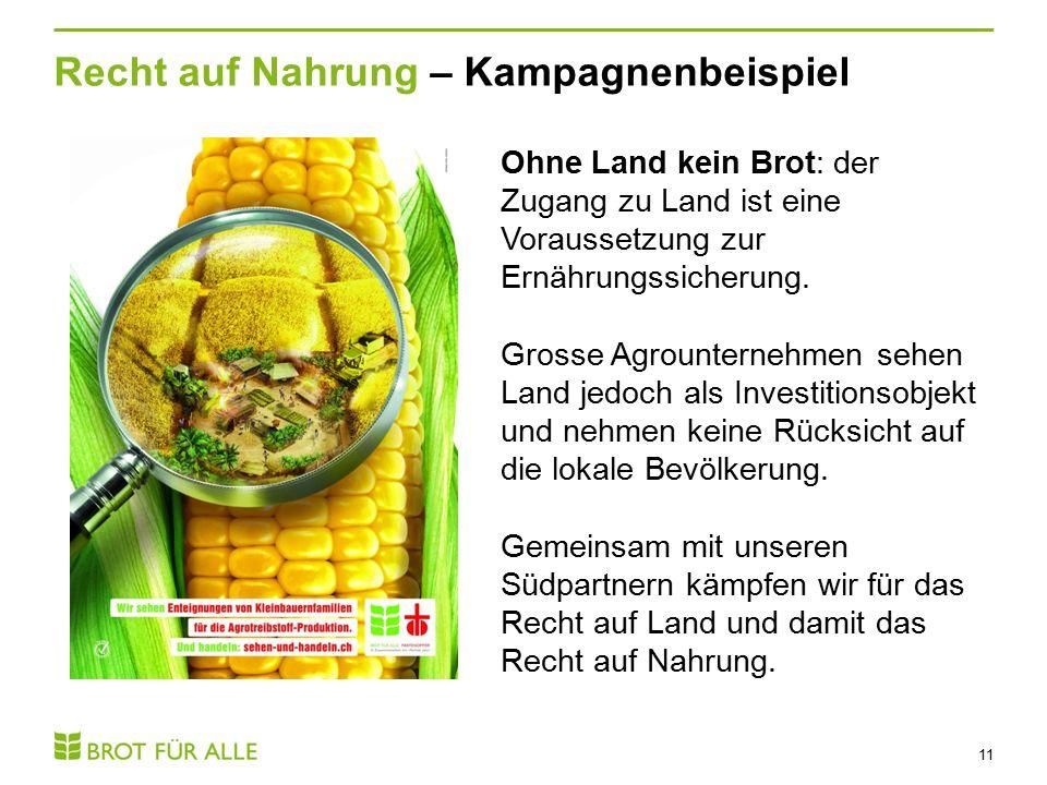 Recht auf Nahrung – Kampagnenbeispiel 11 Ohne Land kein Brot: der Zugang zu Land ist eine Voraussetzung zur Ernährungssicherung.