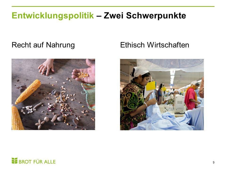 Entwicklungspolitik – Zwei Schwerpunkte 9 Recht auf Nahrung Ethisch Wirtschaften