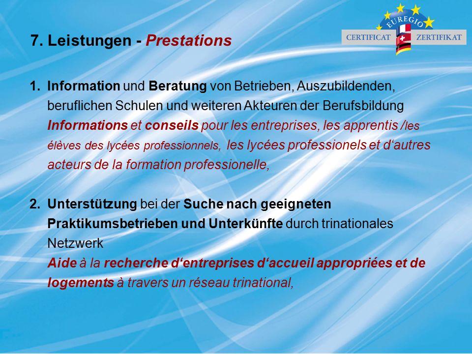 1.Information und Beratung von Betrieben, Auszubildenden, beruflichen Schulen und weiteren Akteuren der Berufsbildung Informations et conseils pour le