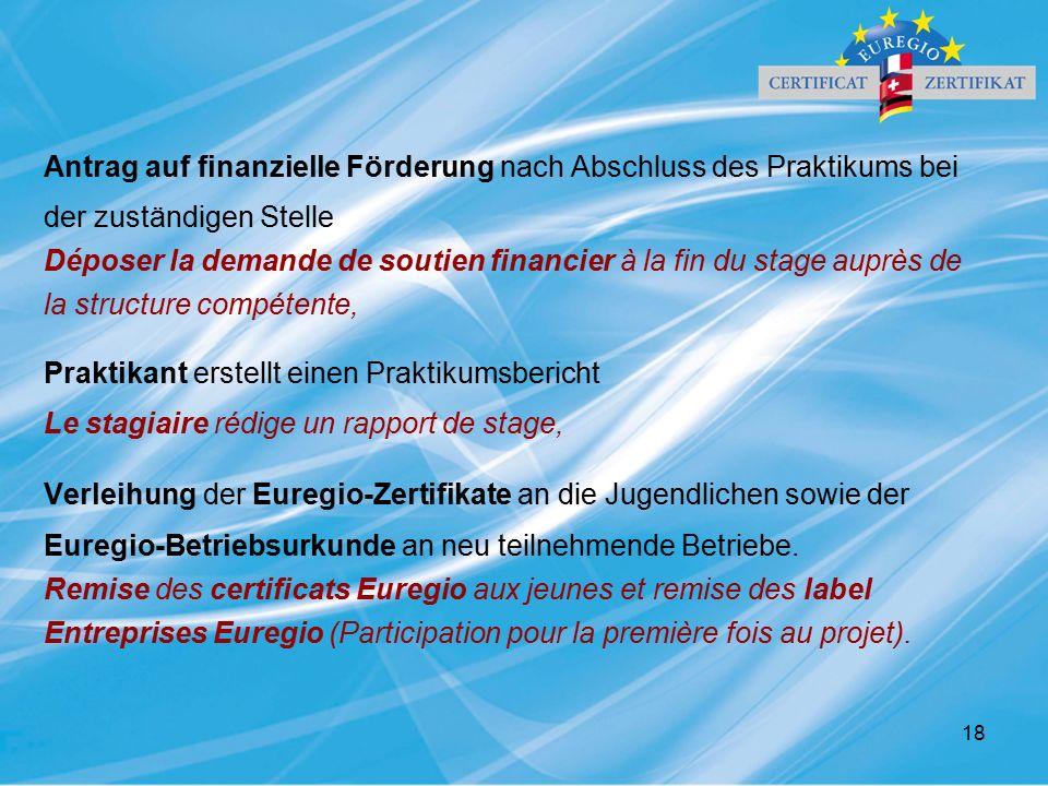 18 Antrag auf finanzielle Förderung nach Abschluss des Praktikums bei der zuständigen Stelle Déposer la demande de soutien financier à la fin du stage