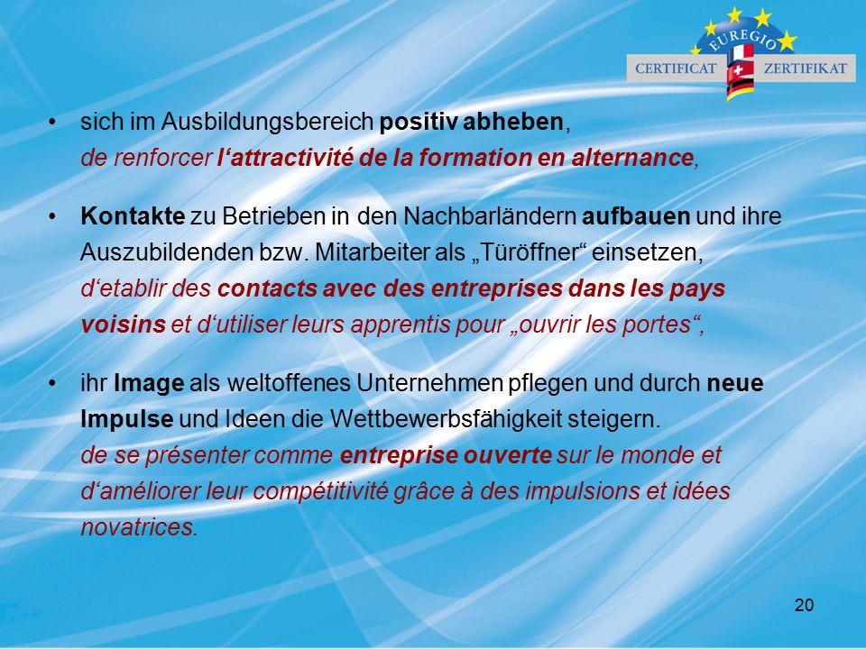20 sich im Ausbildungsbereich positiv abheben, de renforcer l'attractivité de la formation en alternance, Kontakte zu Betrieben in den Nachbarländern