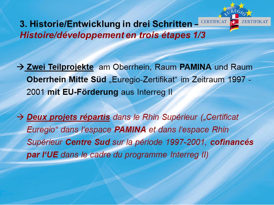 3. Historie/Entwicklung in drei Schritten – Histoire/développement en trois étapes 1/3  Zwei Teilprojekte am Oberrhein, Raum PAMINA und Raum Oberrhei