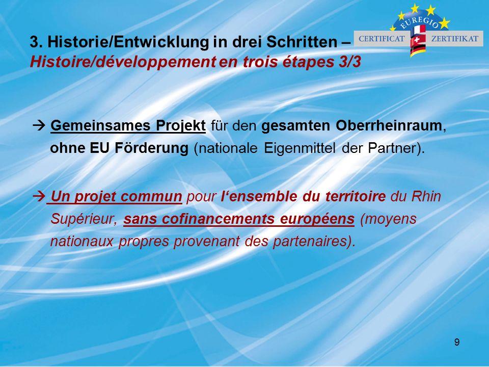 9 3. Historie/Entwicklung in drei Schritten – Histoire/développement en trois étapes 3/3  Gemeinsames Projekt für den gesamten Oberrheinraum, ohne EU