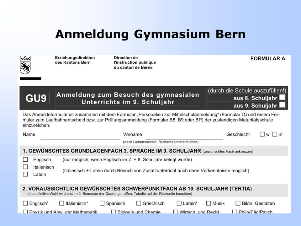 Anmeldung Gymnasium Bern