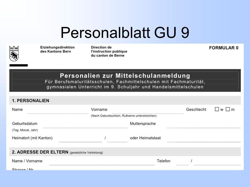 Personalblatt GU 9