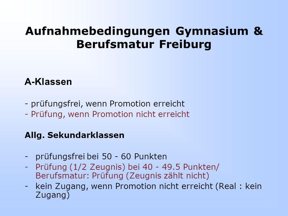Aufnahmebedingungen Gymnasium & Berufsmatur Freiburg A-Klassen - prüfungsfrei, wenn Promotion erreicht - Prüfung, wenn Promotion nicht erreicht Allg.