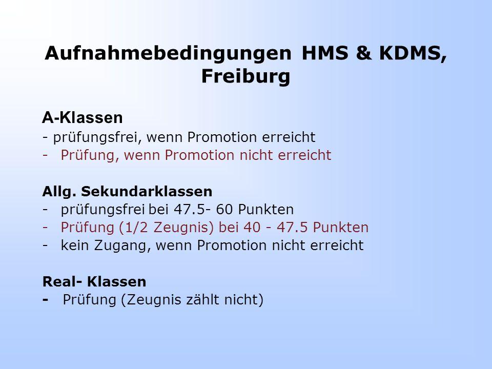 Aufnahmebedingungen HMS & KDMS, Freiburg A-Klassen - prüfungsfrei, wenn Promotion erreicht -Prüfung, wenn Promotion nicht erreicht Allg.