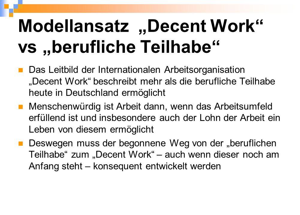 """Modellansatz """"Decent Work vs """"berufliche Teilhabe Das Leitbild der Internationalen Arbeitsorganisation """"Decent Work beschreibt mehr als die berufliche Teilhabe heute in Deutschland ermöglicht Menschenwürdig ist Arbeit dann, wenn das Arbeitsumfeld erfüllend ist und insbesondere auch der Lohn der Arbeit ein Leben von diesem ermöglicht Deswegen muss der begonnene Weg von der """"beruflichen Teilhabe zum """"Decent Work – auch wenn dieser noch am Anfang steht – konsequent entwickelt werden"""