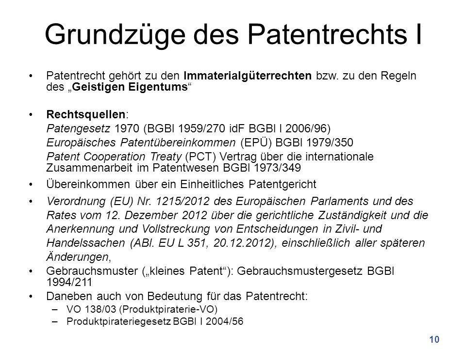"""Grundzüge des Patentrechts I Patentrecht gehört zu den Immaterialgüterrechten bzw. zu den Regeln des """"Geistigen Eigentums"""" Rechtsquellen: Patengesetz"""