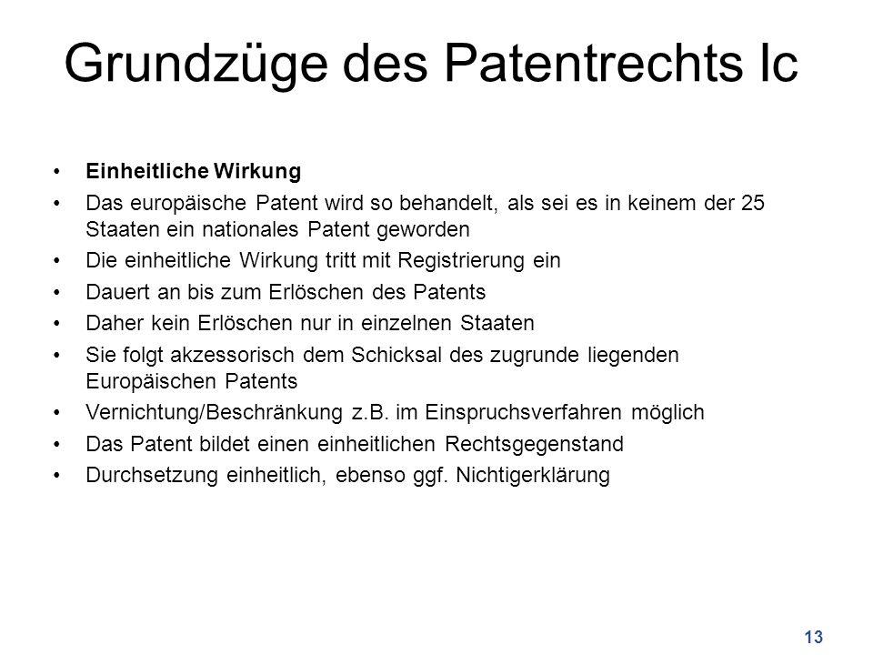 Grundzüge des Patentrechts Ic Einheitliche Wirkung Das europäische Patent wird so behandelt, als sei es in keinem der 25 Staaten ein nationales Patent geworden Die einheitliche Wirkung tritt mit Registrierung ein Dauert an bis zum Erlöschen des Patents Daher kein Erlöschen nur in einzelnen Staaten Sie folgt akzessorisch dem Schicksal des zugrunde liegenden Europäischen Patents Vernichtung/Beschränkung z.B.