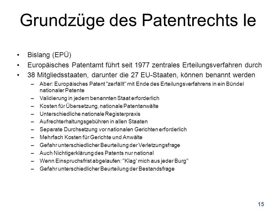 Grundzüge des Patentrechts Ie Bislang (EPÜ) Europäisches Patentamt führt seit 1977 zentrales Erteilungsverfahren durch 38 Mitgliedsstaaten, darunter die 27 EU-Staaten, können benannt werden –Aber: Europäisches Patent zerfällt mit Ende des Erteilungsverfahrens in ein Bündel nationaler Patente –Validierung in jedem benannten Staat erforderlich –Kosten für Übersetzung, nationale Patentanwälte –Unterschiedliche nationale Registerpraxis –Aufrechterhaltungsgebühren in allen Staaten –Separate Durchsetzung vor nationalen Gerichten erforderlich –Mehrfach Kosten für Gerichte und Anwälte –Gefahr unterschiedlicher Beurteilung der Verletzungsfrage –Auch Nichtigerklärung des Patents nur national –Wenn Einspruchsfrist abgelaufen: Klag mich aus jeder Burg –Gefahr unterschiedlicher Beurteilung der Bestandsfrage 15