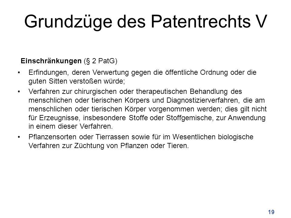 Grundzüge des Patentrechts V Einschränkungen (§ 2 PatG) Erfindungen, deren Verwertung gegen die öffentliche Ordnung oder die guten Sitten verstoßen wü