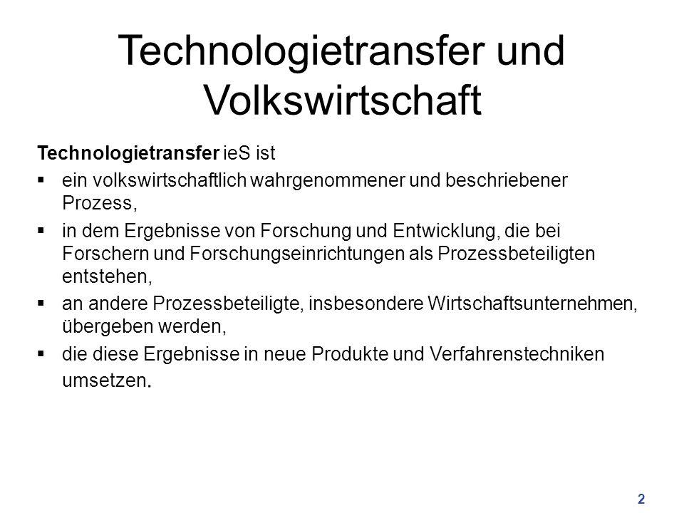 Technologietransfer und Volkswirtschaft Technologietransfer ieS ist  ein volkswirtschaftlich wahrgenommener und beschriebener Prozess,  in dem Ergeb
