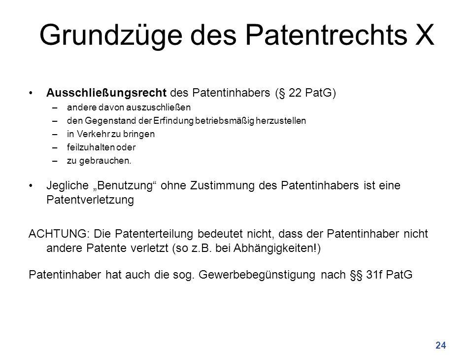 Grundzüge des Patentrechts X Ausschließungsrecht des Patentinhabers (§ 22 PatG) –andere davon auszuschließen –den Gegenstand der Erfindung betriebsmäßig herzustellen –in Verkehr zu bringen –feilzuhalten oder –zu gebrauchen.