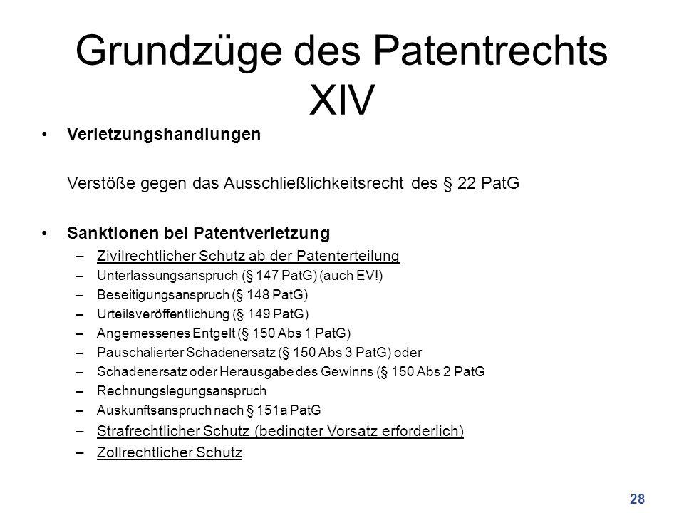 Grundzüge des Patentrechts XIV Verletzungshandlungen Verstöße gegen das Ausschließlichkeitsrecht des § 22 PatG Sanktionen bei Patentverletzung –Zivilrechtlicher Schutz ab der Patenterteilung –Unterlassungsanspruch (§ 147 PatG) (auch EV!) –Beseitigungsanspruch (§ 148 PatG) –Urteilsveröffentlichung (§ 149 PatG) –Angemessenes Entgelt (§ 150 Abs 1 PatG) –Pauschalierter Schadenersatz (§ 150 Abs 3 PatG) oder –Schadenersatz oder Herausgabe des Gewinns (§ 150 Abs 2 PatG –Rechnungslegungsanspruch –Auskunftsanspruch nach § 151a PatG –Strafrechtlicher Schutz (bedingter Vorsatz erforderlich) –Zollrechtlicher Schutz 28