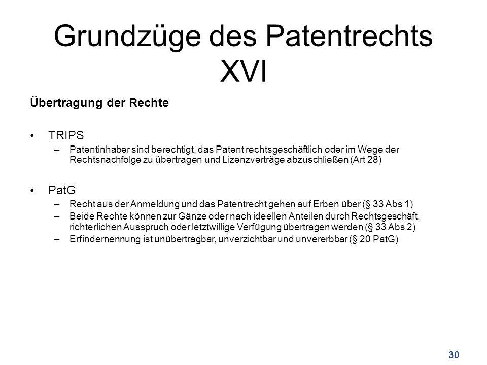 Grundzüge des Patentrechts XVI Übertragung der Rechte TRIPS –Patentinhaber sind berechtigt, das Patent rechtsgeschäftlich oder im Wege der Rechtsnachf