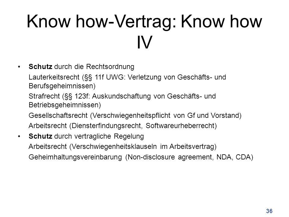 Know how-Vertrag: Know how IV Schutz durch die Rechtsordnung Lauterkeitsrecht (§§ 11f UWG: Verletzung von Geschäfts- und Berufsgeheimnissen) Strafrech