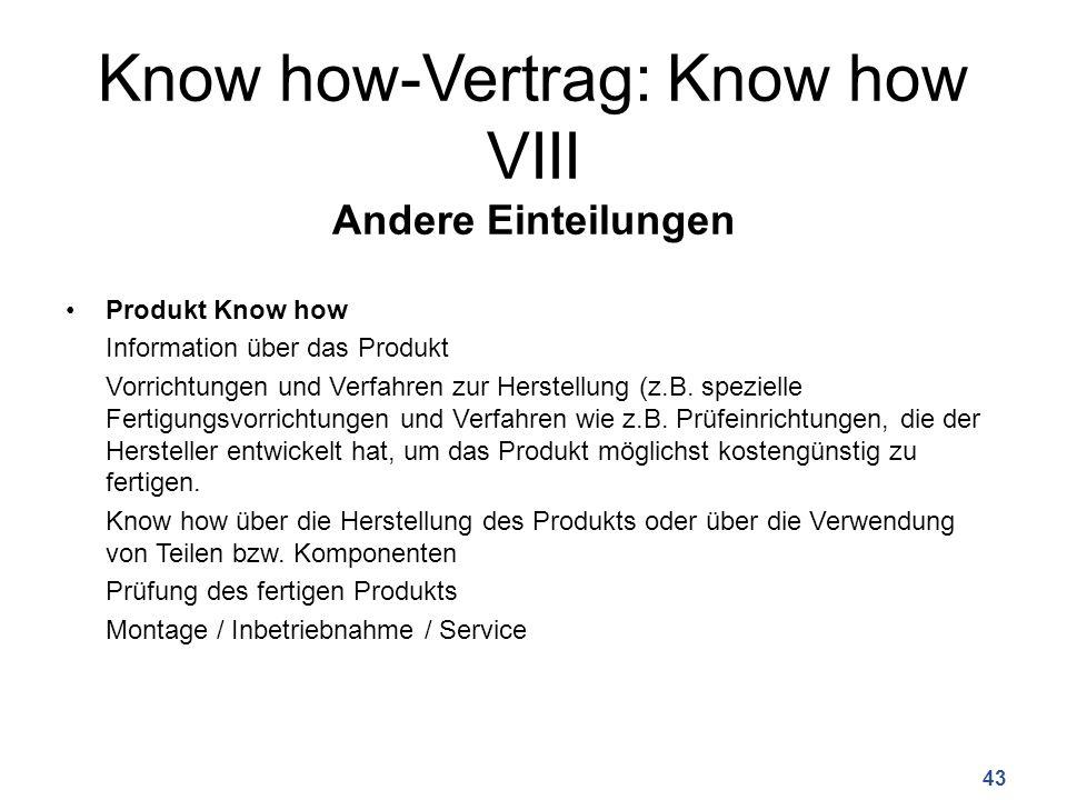 Know how-Vertrag: Know how VIII Andere Einteilungen Produkt Know how Information über das Produkt Vorrichtungen und Verfahren zur Herstellung (z.B.
