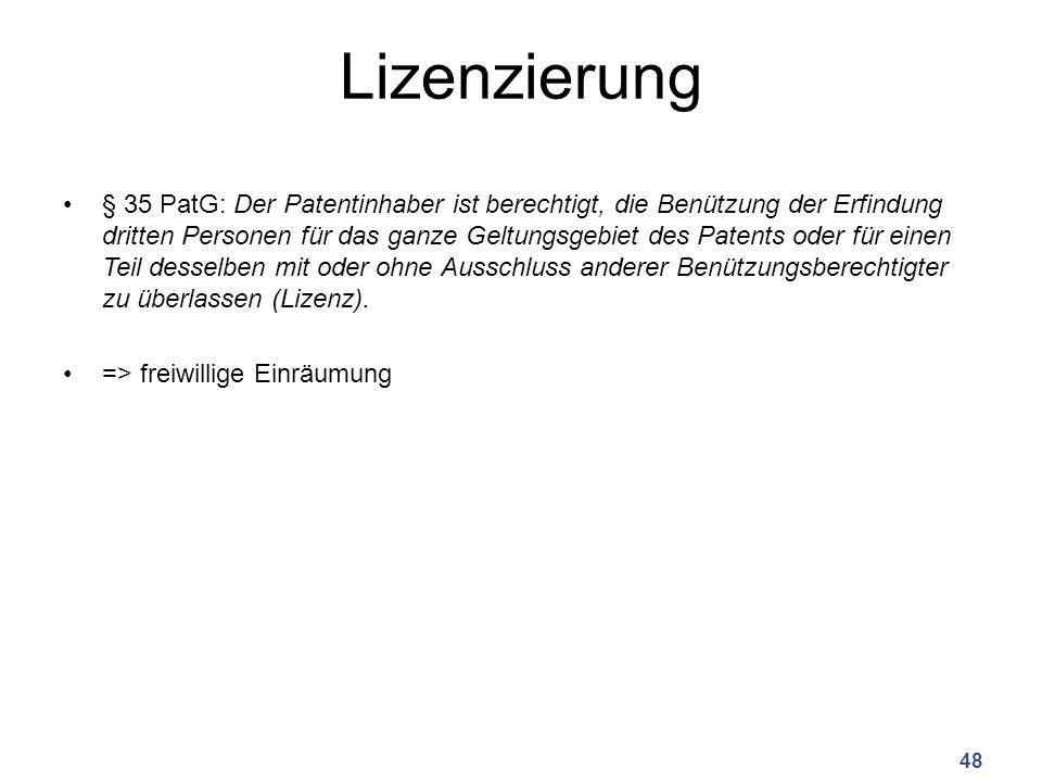 Lizenzierung § 35 PatG: Der Patentinhaber ist berechtigt, die Benützung der Erfindung dritten Personen für das ganze Geltungsgebiet des Patents oder f