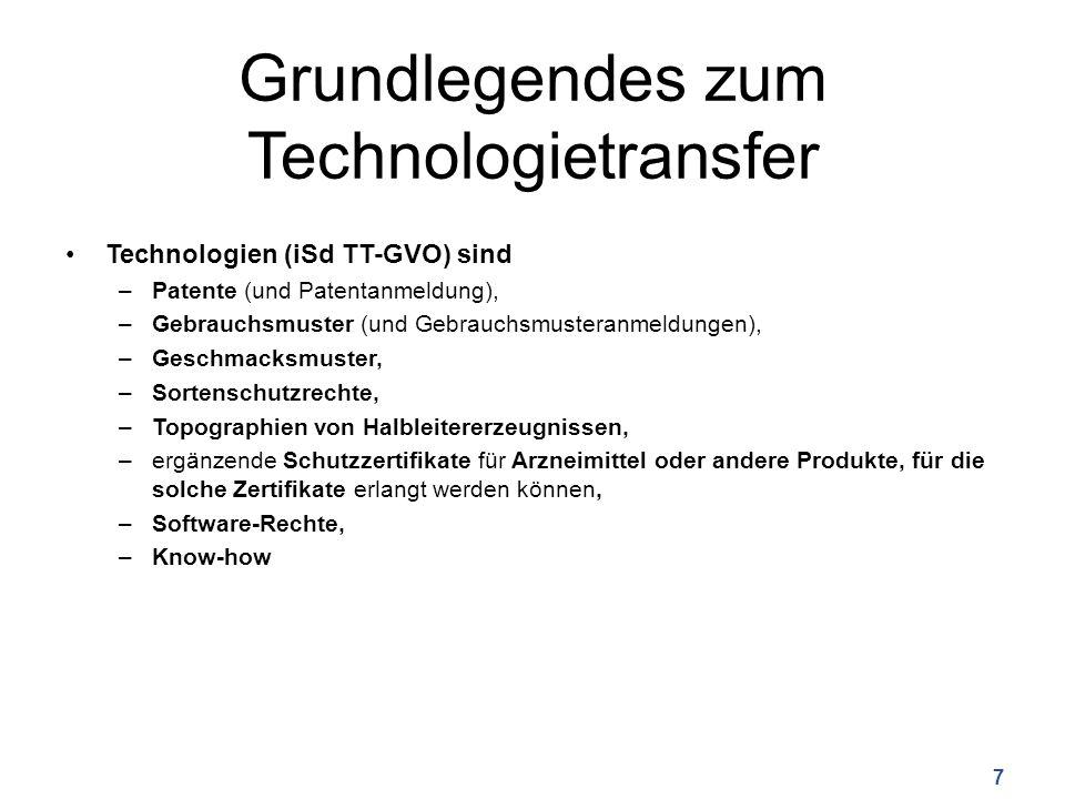 Grundlegendes zum Technologietransfer Technologien (iSd TT-GVO) sind –Patente (und Patentanmeldung), –Gebrauchsmuster (und Gebrauchsmusteranmeldungen), –Geschmacksmuster, –Sortenschutzrechte, –Topographien von Halbleitererzeugnissen, –ergänzende Schutzzertifikate für Arzneimittel oder andere Produkte, für die solche Zertifikate erlangt werden können, –Software-Rechte, –Know-how 7