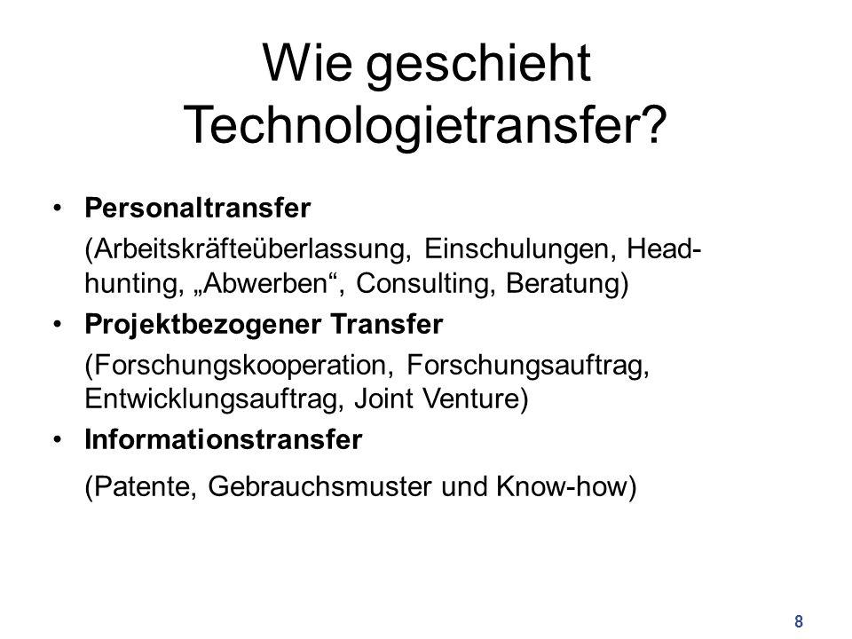 "Wie geschieht Technologietransfer? Personaltransfer (Arbeitskräfteüberlassung, Einschulungen, Head- hunting, ""Abwerben"", Consulting, Beratung) Projekt"