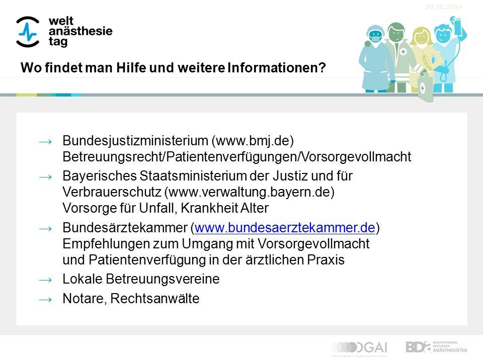 30.05.2016 13 Wo findet man Hilfe und weitere Informationen? →Bundesjustizministerium (www.bmj.de) Betreuungsrecht/Patientenverfügungen/Vorsorgevollma
