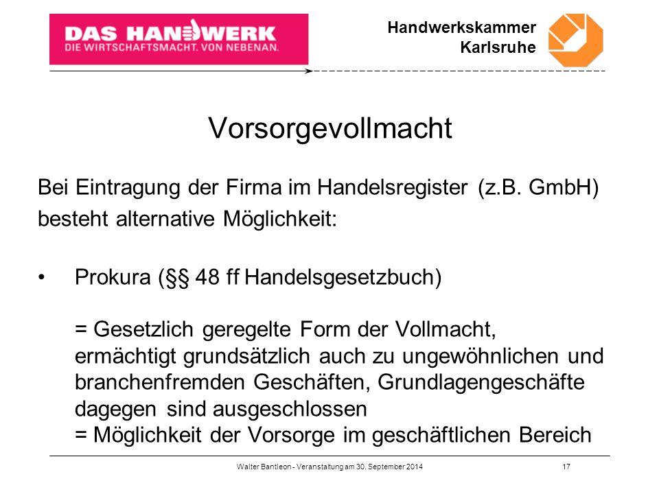 Handwerkskammer Karlsruhe Walter Bantleon - Veranstaltung am 30.