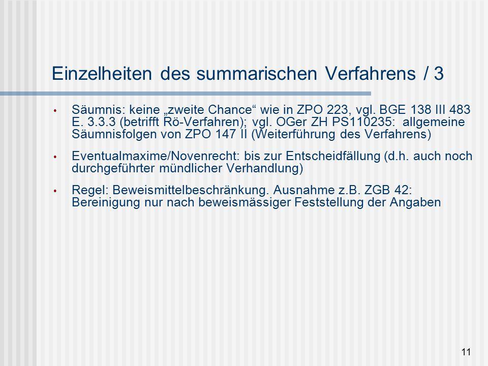 """Einzelheiten des summarischen Verfahrens / 3 Säumnis: keine """"zweite Chance wie in ZPO 223, vgl."""