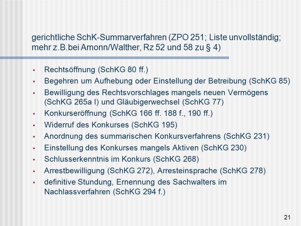 gerichtliche SchK-Summarverfahren (ZPO 251; Liste unvollständig; mehr z.B.bei Amonn/Walther, Rz 52 und 58 zu § 4) Rechtsöffnung (SchKG 80 ff.) Begehren um Aufhebung oder Einstellung der Betreibung (SchKG 85) Bewilligung des Rechtsvorschlages mangels neuen Vermögens (SchKG 265a I) und Gläubigerwechsel (SchKG 77) Konkurseröffnung (SchKG 166 ff.