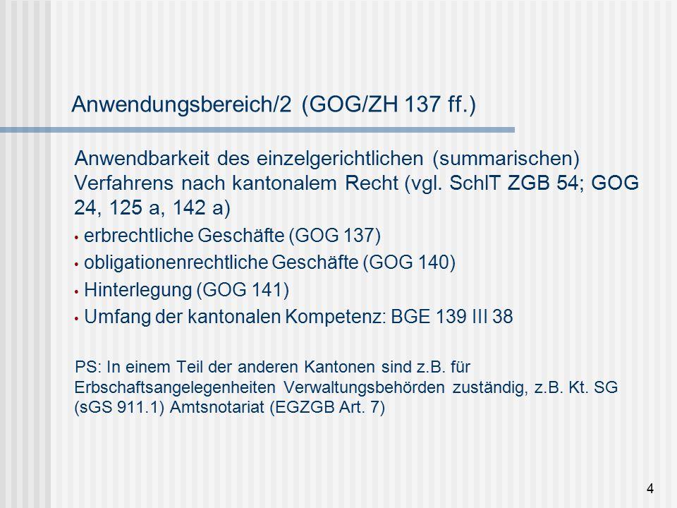 """Anwendungsbereich/3 in selbständigen Verfahren (Beispiele): Rechtsschutz in klaren Fällen (ZPO 257) vorprozessuale vorsorgliche Massnahmen """"Katalogfall : Ernennung/Abberufung Verwaltung bei Stockwerkeigentum (ZPO 249 d Ziff."""