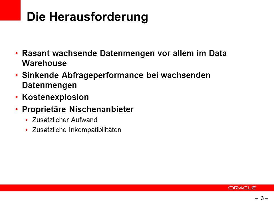 – 3 – Die Herausforderung Rasant wachsende Datenmengen vor allem im Data Warehouse Sinkende Abfrageperformance bei wachsenden Datenmengen Kostenexplosion Proprietäre Nischenanbieter Zusätzlicher Aufwand Zusätzliche Inkompatibilitäten
