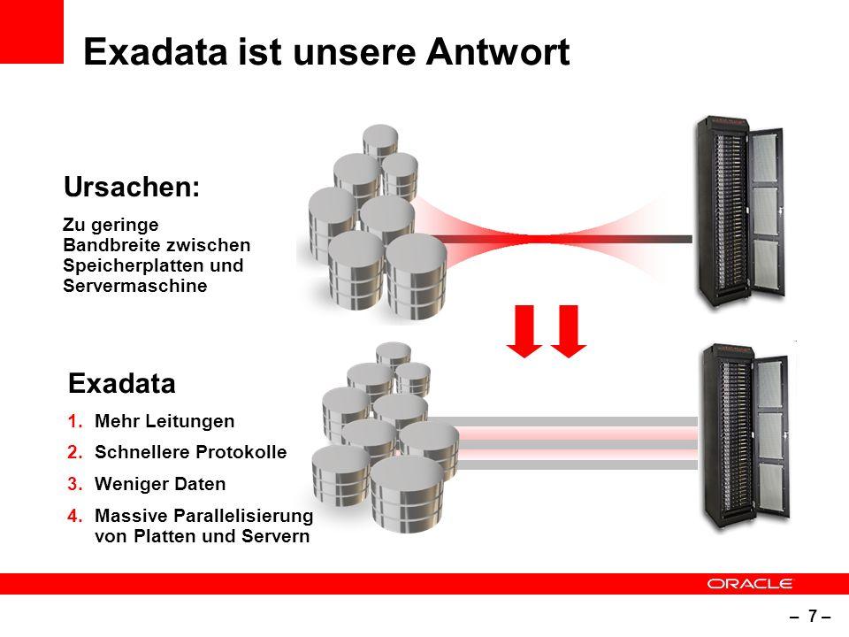 – 7 – Exadata ist unsere Antwort Ursachen: Zu geringe Bandbreite zwischen Speicherplatten und Servermaschine Exadata 1.