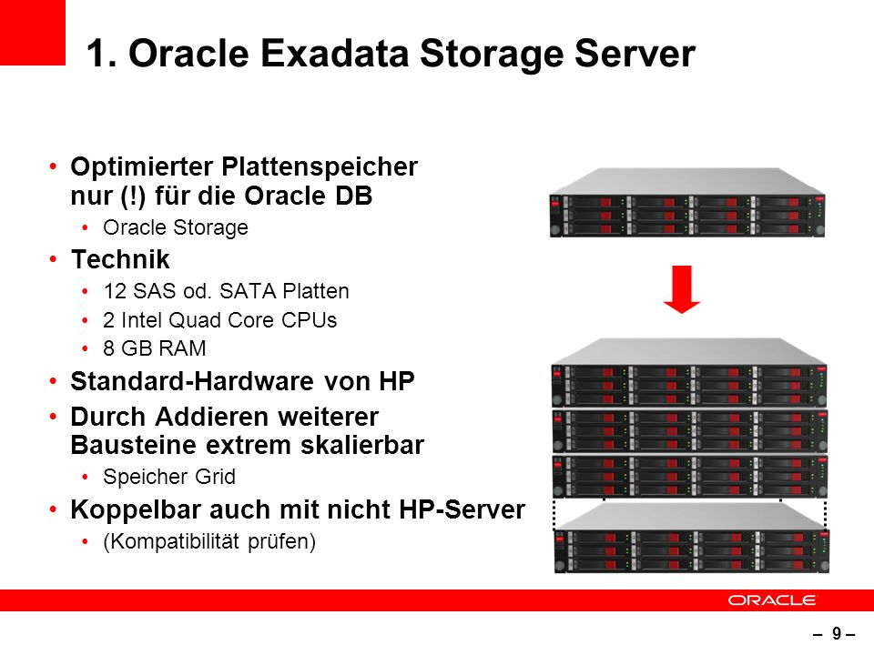 – 9 – 1. Oracle Exadata Storage Server Optimierter Plattenspeicher nur (!) für die Oracle DB Oracle Storage Technik 12 SAS od. SATA Platten 2 Intel Qu