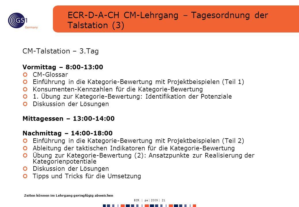 ECR | pe | 2009 | 21 ECR-D-A-CH CM-Lehrgang – Tagesordnung der Talstation (3) CM-Talstation – 3.Tag Vormittag – 8:00-13:00 CM-Glossar Einführung in die Kategorie-Bewertung mit Projektbeispielen (Teil 1) Konsumenten-Kennzahlen für die Kategorie-Bewertung 1.