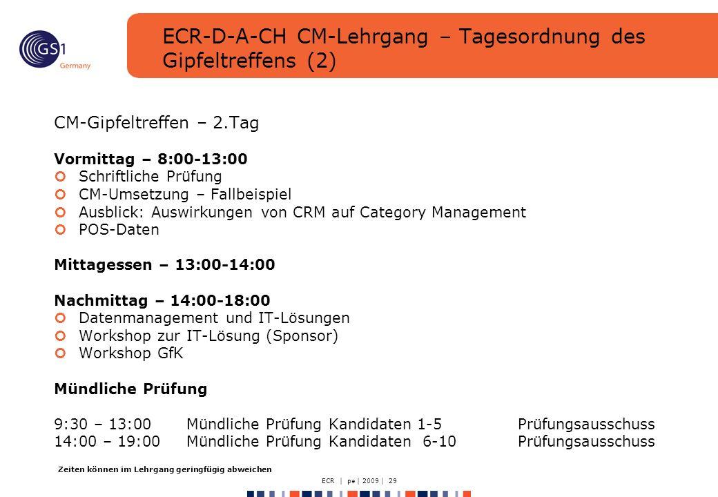ECR | pe | 2009 | 29 ECR-D-A-CH CM-Lehrgang – Tagesordnung des Gipfeltreffens (2) CM-Gipfeltreffen – 2.Tag Vormittag – 8:00-13:00 Schriftliche Prüfung CM-Umsetzung – Fallbeispiel Ausblick: Auswirkungen von CRM auf Category Management POS-Daten Mittagessen – 13:00-14:00 Nachmittag – 14:00-18:00 Datenmanagement und IT-Lösungen Workshop zur IT-Lösung (Sponsor) Workshop GfK Mündliche Prüfung 9:30 – 13:00Mündliche Prüfung Kandidaten 1-5 Prüfungsausschuss 14:00 – 19:00Mündliche Prüfung Kandidaten 6-10Prüfungsausschuss Zeiten können im Lehrgang geringfügig abweichen