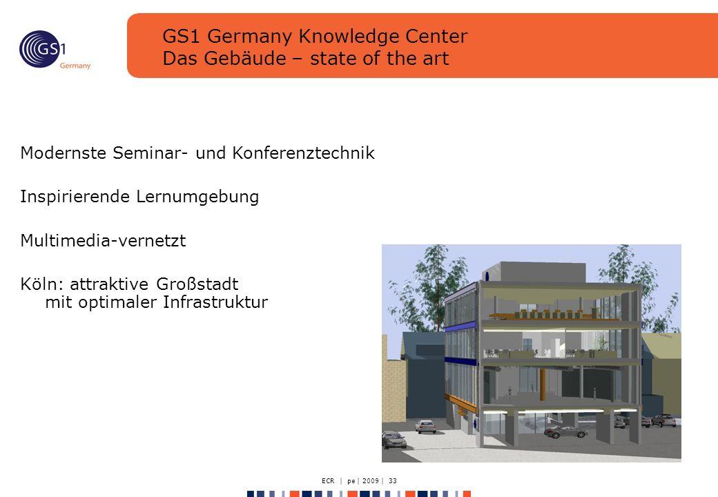 ECR | pe | 2009 | 33 GS1 Germany Knowledge Center Das Gebäude – state of the art Modernste Seminar- und Konferenztechnik Inspirierende Lernumgebung Multimedia-vernetzt Köln: attraktive Großstadt mit optimaler Infrastruktur